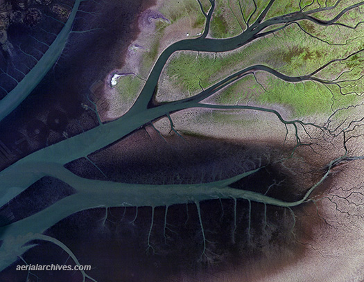 aerial photo map of Humbolt Bay channels, Humbolt County, California