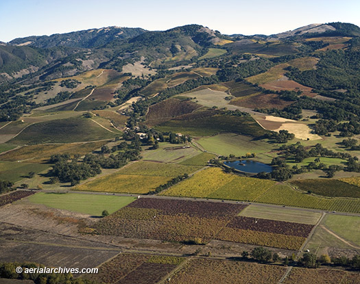 aerial photo Sonoma Valley vineyards Maycamas Mountains