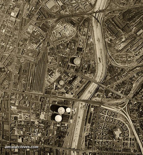 historical aerial photograph Los Angeles California infrastructure AHLV3277